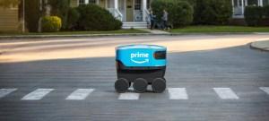 An Amazon Scout autonomous delivery robot.