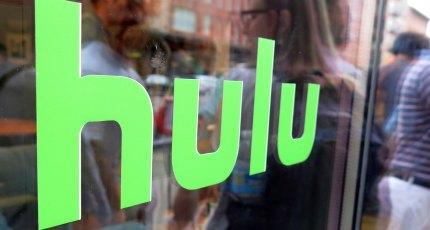 Hulu logo on a window