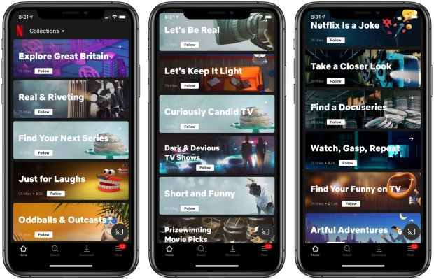 """Techmeme: Netflix says it is testing """"Collections"""" on iOS"""