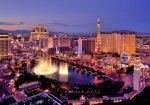 City skyline at night with Bellagio Hotel water fountains, Las Vegas, Nevada, America, USA
