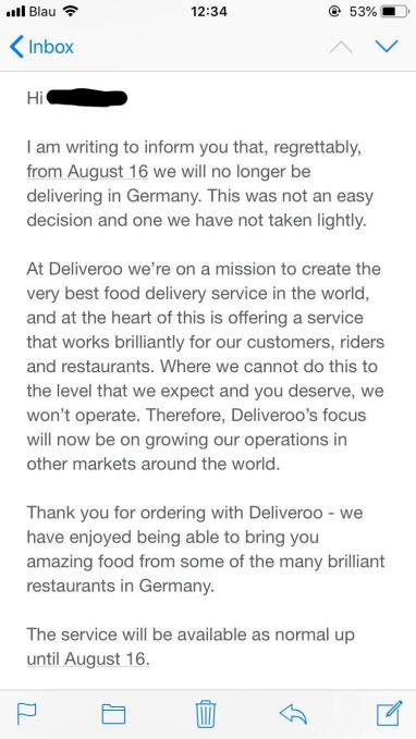 deliveroo german goodbye email