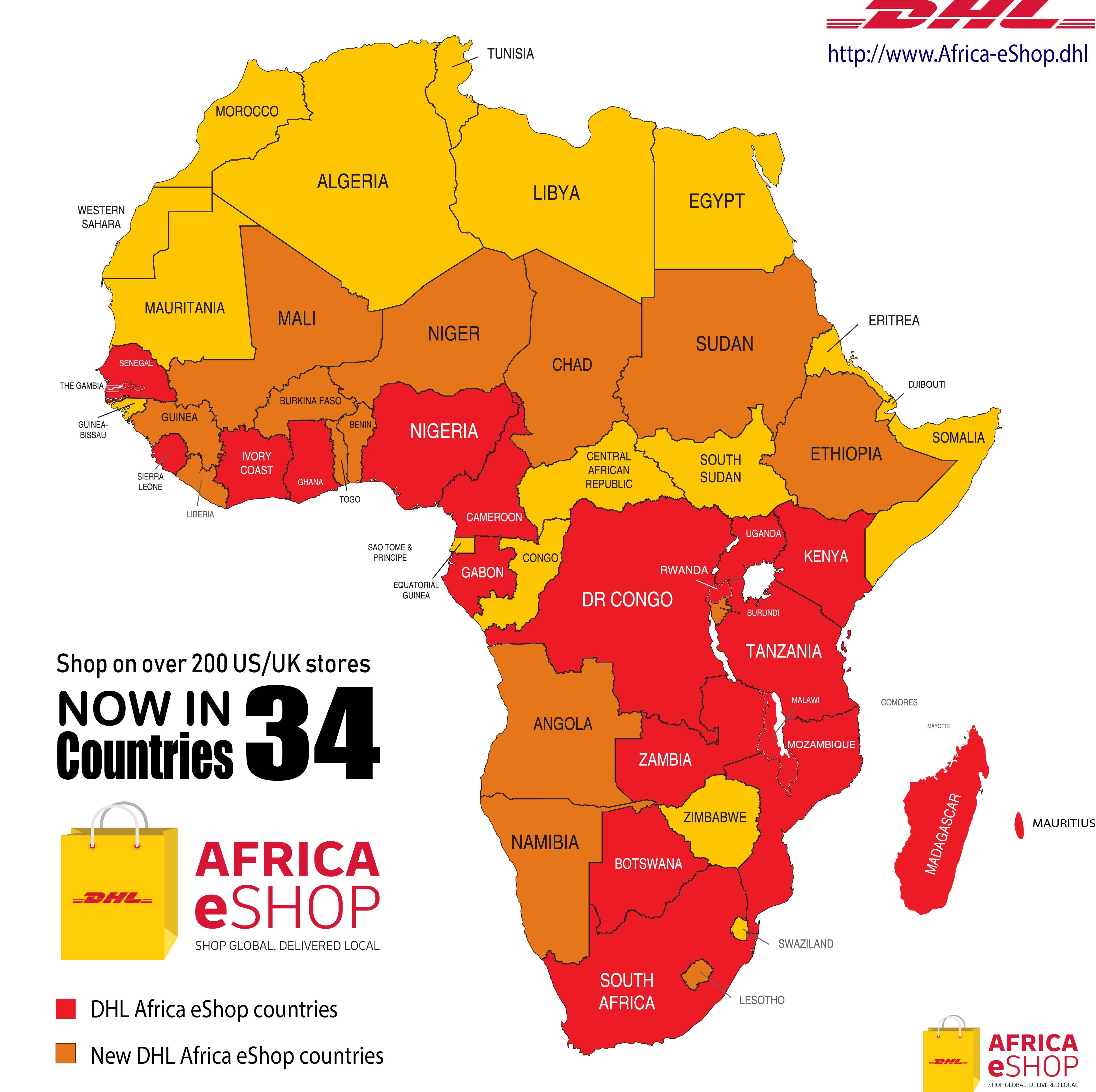 DHL AFRICA ESHOP MAP