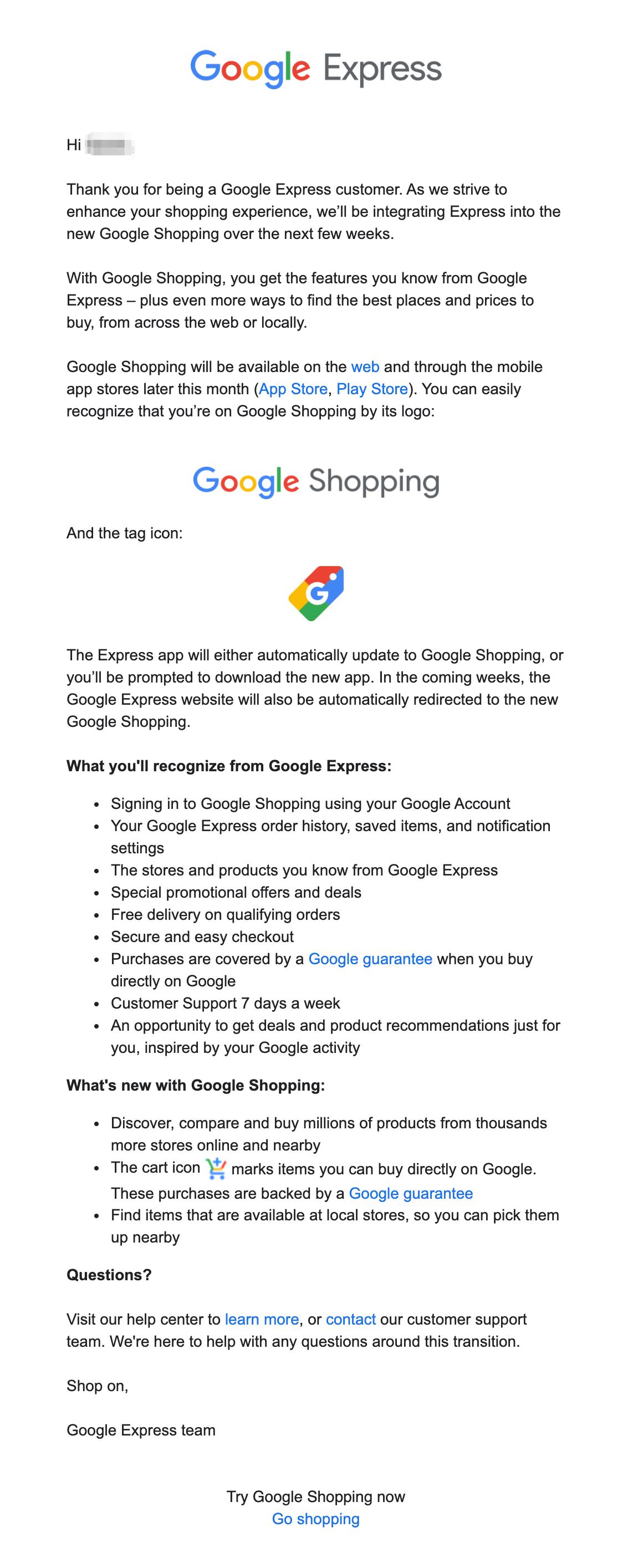 google express shutdown