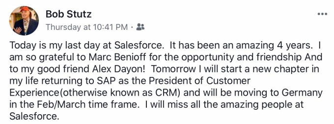 Bob Stutz Facebook announcement