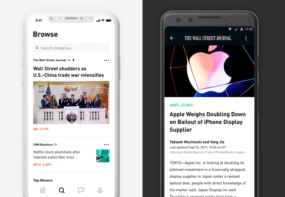 Stock trading app Robinhood revamps its newsfeed with The Wall Street Journal and ad-free videos