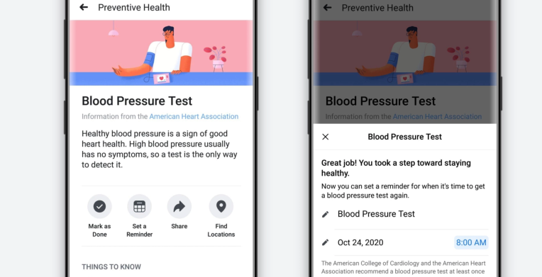 Facebook unveils its first foray into personal digital healthcare tools