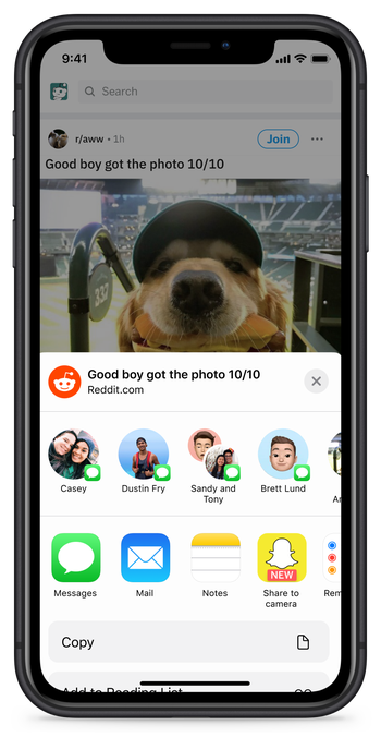 Reddit now lets iOS users share to Snapchat