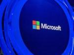 Microsoft logo at Ignite 2019