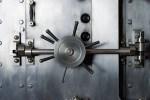 Handle of door to bank vault safe