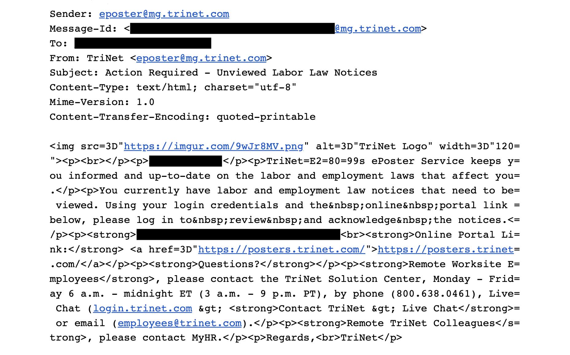 TriNet a envoyé aux employés distants un courrier électronique que certains considéraient comme une attaque de phishing Screen Shot 2019 11 16 at 3