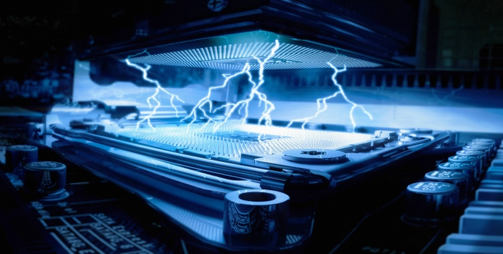 Electrical energy sparks inside computer central processing unit