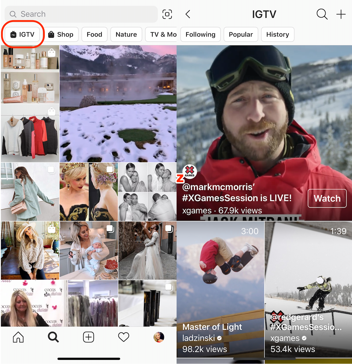 Instagram Stops Featuring the IGTV Homepage Button