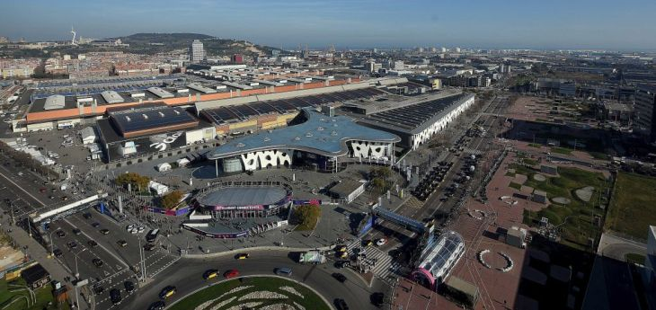 Aerial view of the Fira Gran Via Barcelona enclosure in the