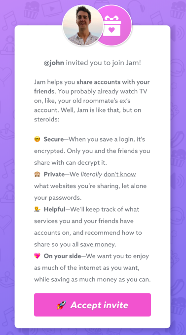 Jam lets you safely share streaming app passwords 3