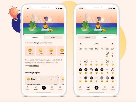 Tangerine's pretty self-care app combines habit and mood tracking - TechCrunch