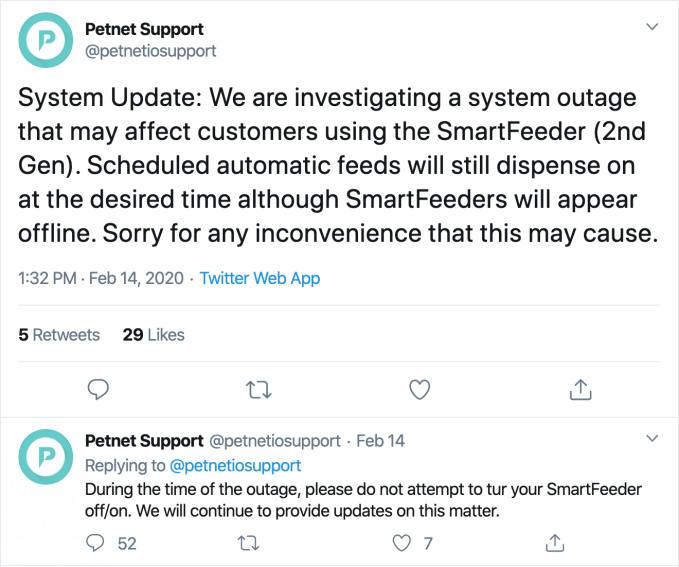 Iron Cafe Roblox Application Answers Petnet S Smart Pet Feeder System Is Back After A Week Long Outage