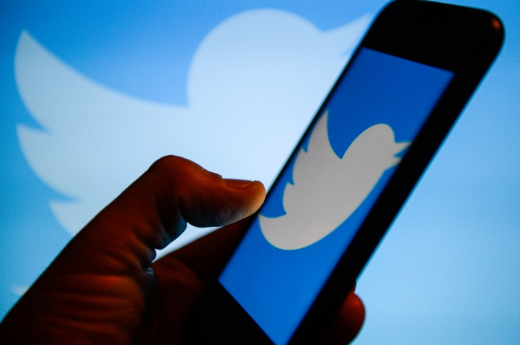 Twitter logo  is seen on an android mobile phone