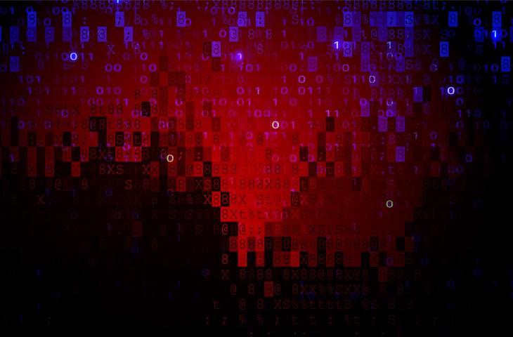 Digital Pixel Screen Dark Red BG. Cybercrime Concept
