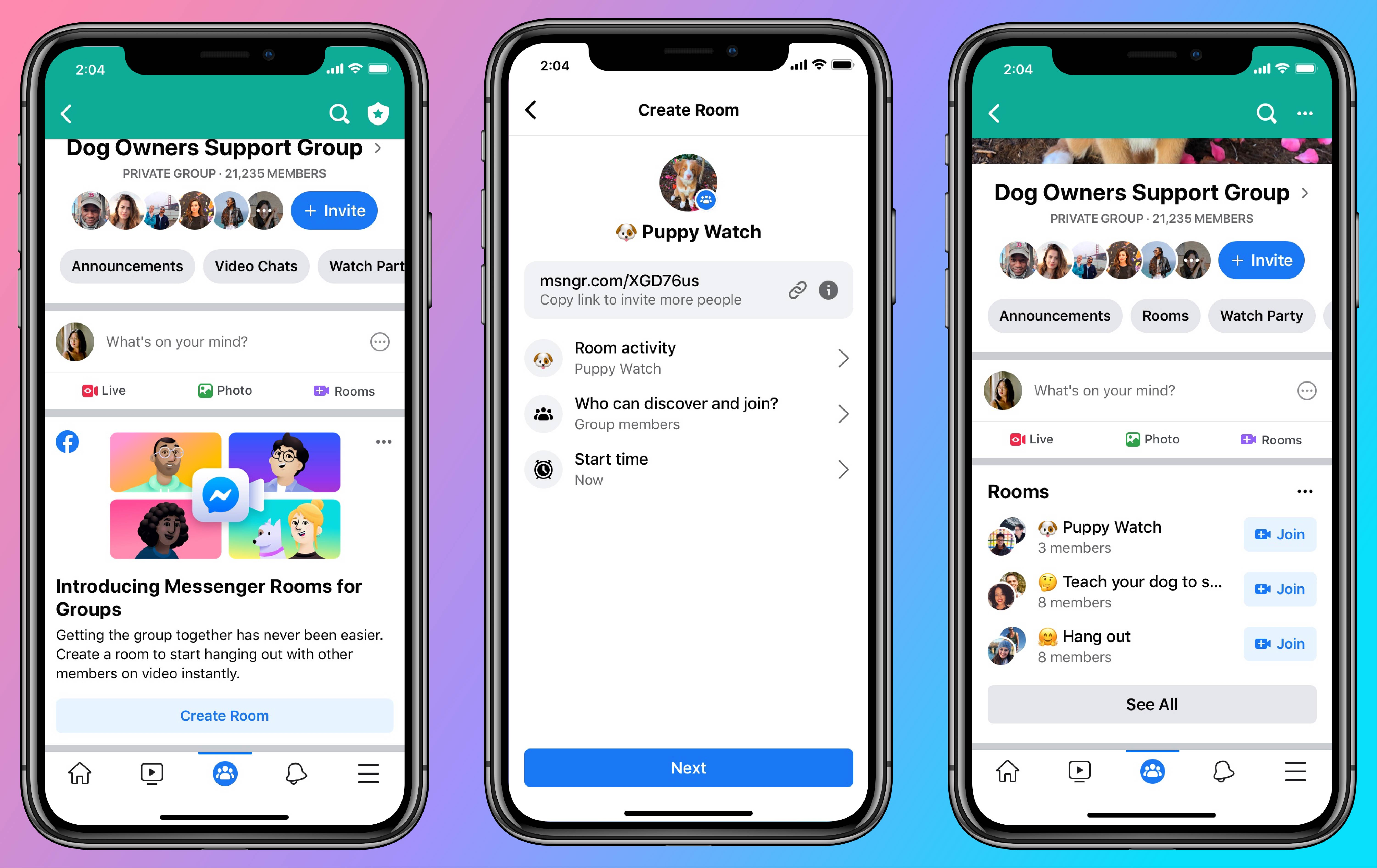 Facebook Launches Drop In Video Chat Rooms To Rival Houseparty Techcrunch
