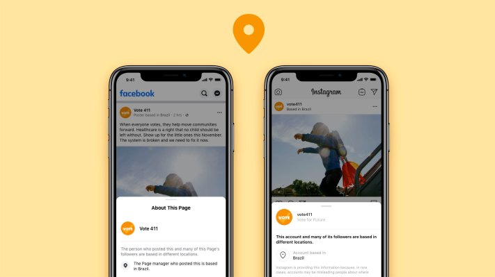 Facebook says it will now show the location of large Facebook and Instagram accounts alongside posts, to help users assess their authenticity, rolling out in US (Sarah Perez/TechCrunch)