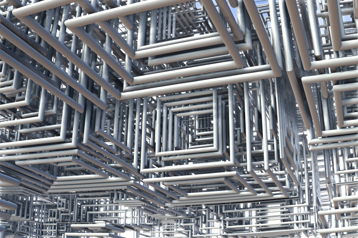 3D view of tubes – Abstract chaos