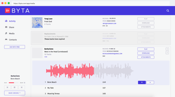 Byta, the private music sharing service for pre-releases and more, raises seed round thumbnail