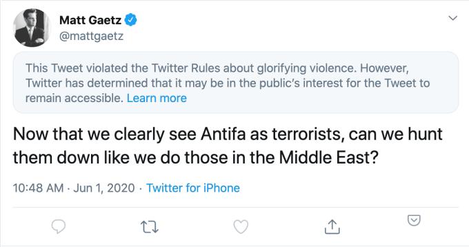 Twitter ограничивает твит Антифа республиканского законодателя за «прославление насилия» 2020 Twitter, республика