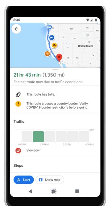 Google Maps actualizado con información COVID-19 y alertas de tránsito relacionadas 2
