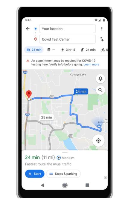 Google Maps actualizado con información COVID-19 y alertas de tránsito relacionadas 3