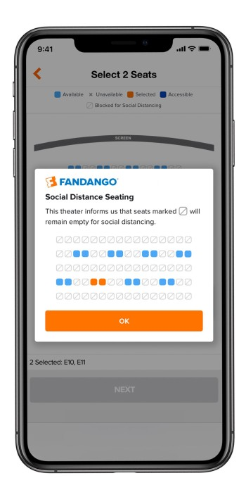 Fandango social distance seating