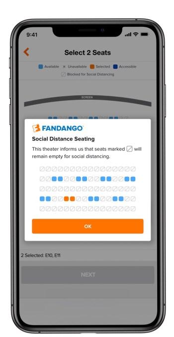 Asientos de distancia social Fandango