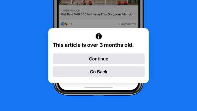 Facebook will show users a pop-up warning before they share an outdated story