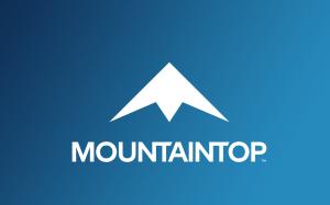 Mountaintop games logo, a stylized snow-topped mountain.