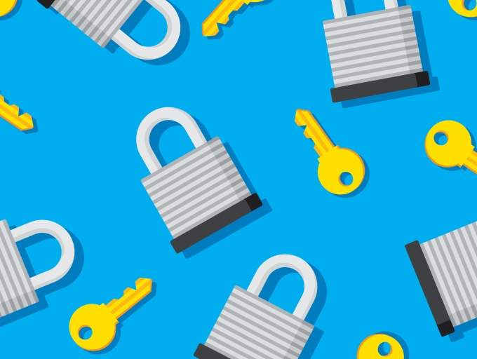 Vector illustration of padlocks and keys in a repeating pattern against a blue background.
