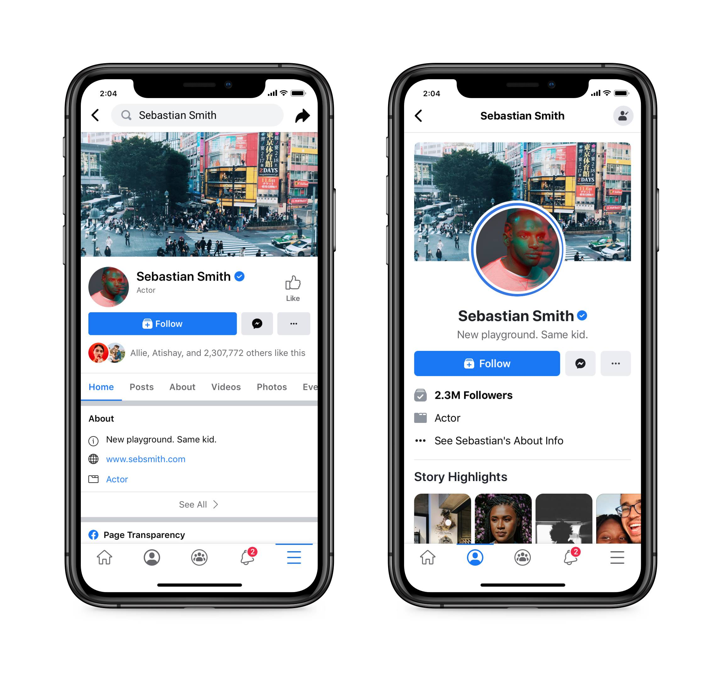 screenshot comparing old and new facebook page layout