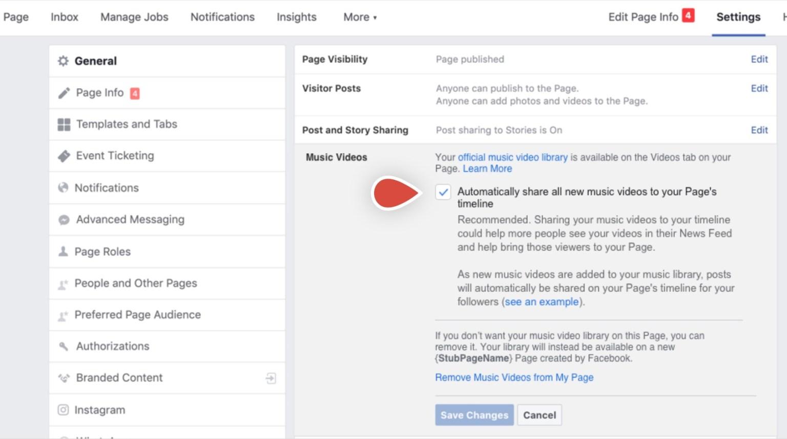 Capture d'écran de l'option autorisant Facebook à intégrer des clips à une page officielle d'artiste.