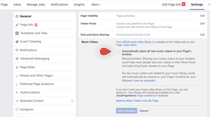 Facebook empfiehlt das automatische Teilen aller neuen Videos in der Timeline