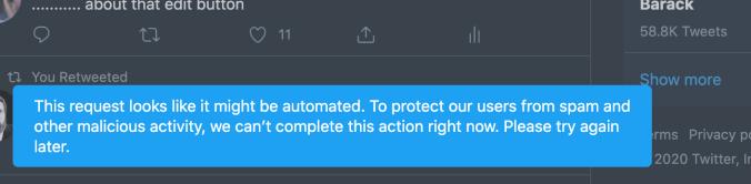 Twitter error message (Image: TechCrunch)