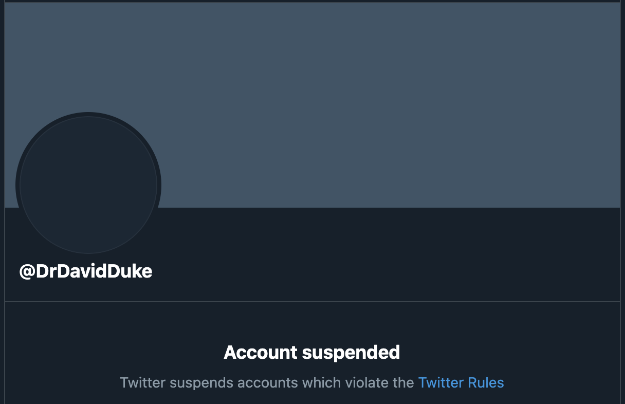 Former KKK leader David Duke permanently banned from Twitter