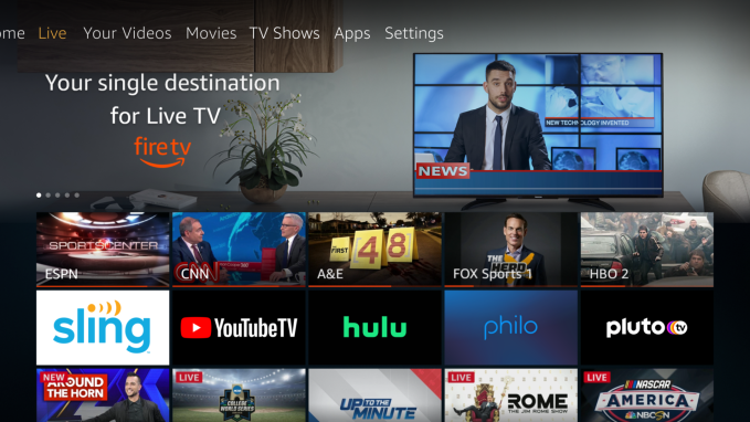 Amazon Fire TV now pulls in live TV content from Sling TV, YouTube TV and Hulu + Live TV 2