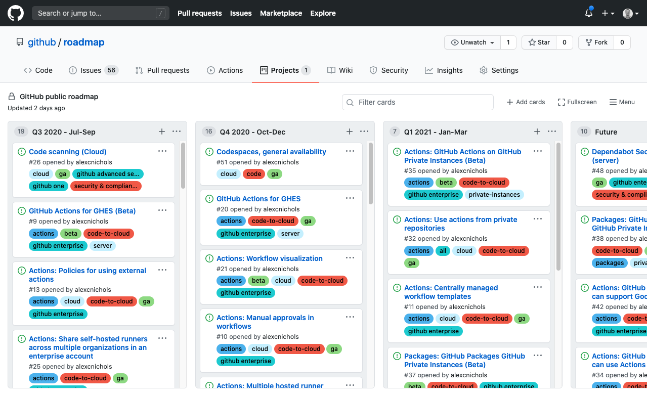 GitHub starts publishing a public roadmap