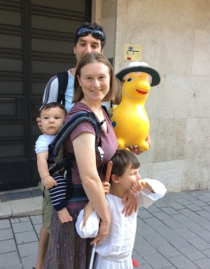 Dr. Cecily Morrison with her partner and two children, including her seven-year-old son who is holding his cane.