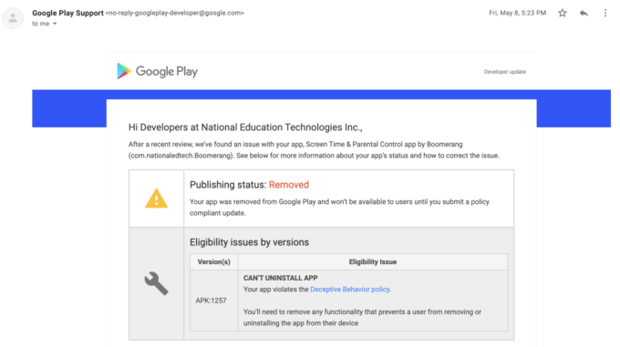 Parental control app Boomerang repeatedly blocked from Play Store, losing business