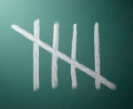 Five tally marks on blackboard