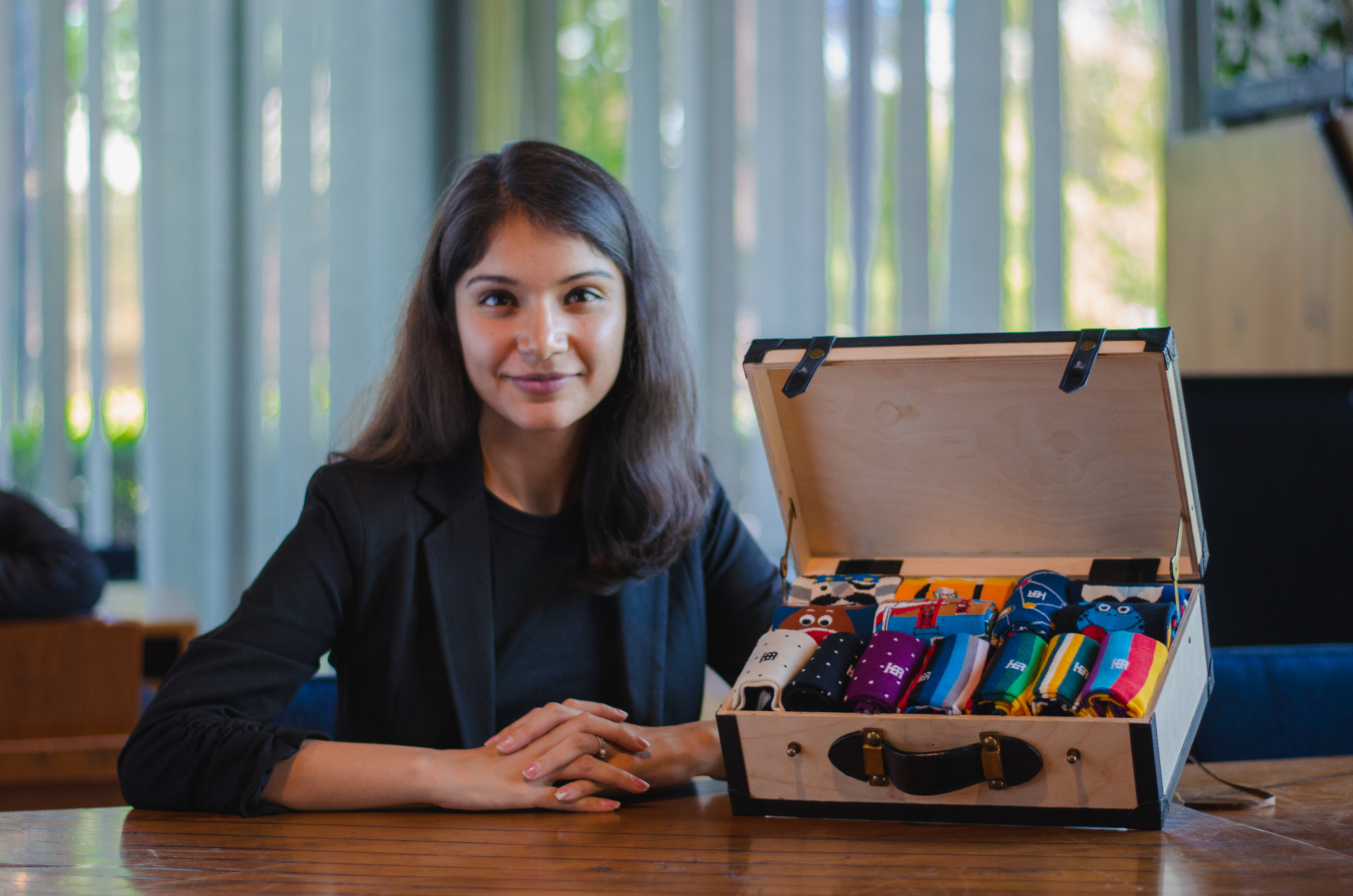 SockSoho co-founder Pritika Mehta with some of the company's socks