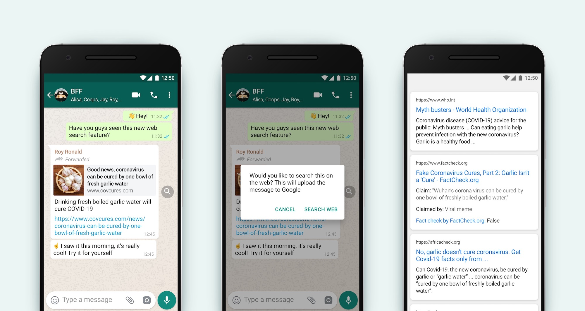 WhatsApp now lets you fact-check forwarded messages