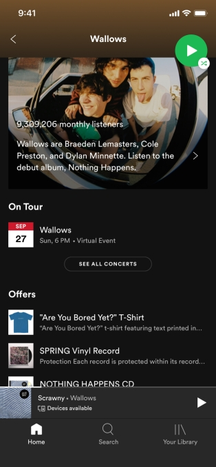 Spotify adds virtual event listings to its app Artist Tour