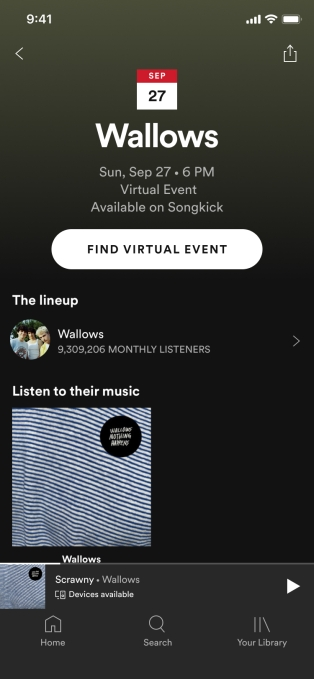 Spotify adds virtual event listings to its app Concert Details