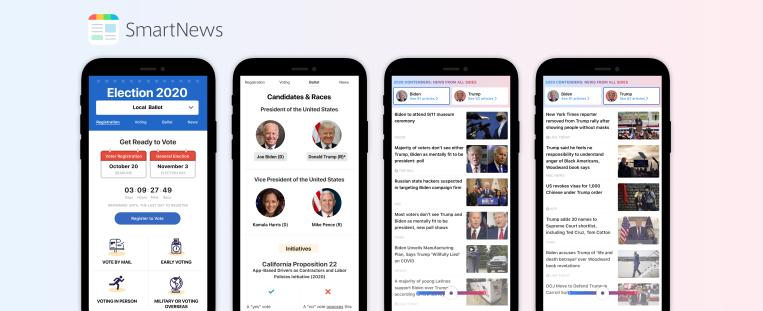SmartNews' U.S. app unveils gathered ingredients for the elections, COVID-19 and local weather thumbnail