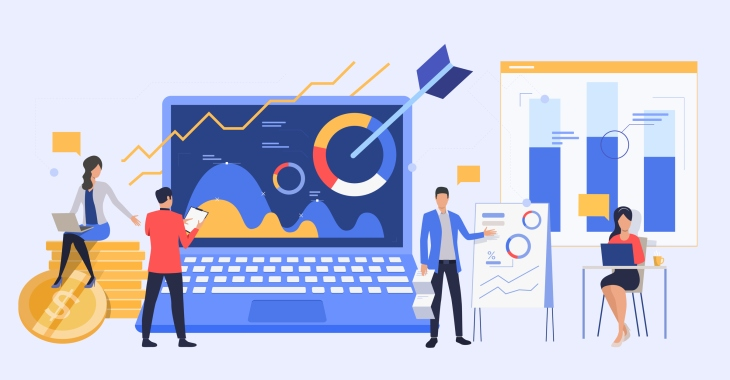 Business people analyzing marketing reports. Managers presenting diagrams vector illustration. Business and analysis concept for banner, website design or landing web page